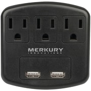3-Outlet USB Wall Plate with Dual USB Ports (Black)