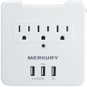 3-Outlet USB Wall Plate with 3 USB Ports