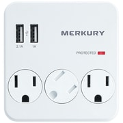 3-Outlet USB Wall Plate with Dual USB Ports
