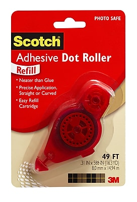 "Scotch® Adhesive Dot Roller Refill, 1/3"" x 49 ft., Red Dispenser (6055-R)"