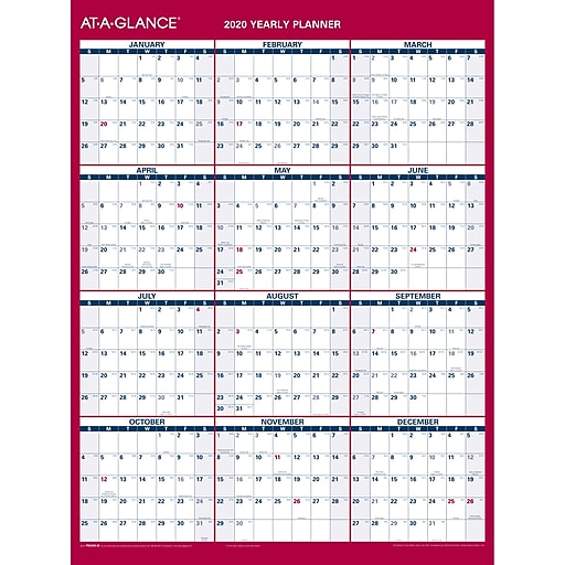 """Dry Erasable 12/"""" x 15-3//4/"""" AT-A-GLANCE 2020 Yearly Wall Calendar Small"""