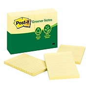 """Post-it® Greener Notes, 4"""" x 6"""", Canary Yellow, 100 Sheets/Pad, 12 Pads/Pack (660-RP)"""
