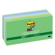 """Post-it® Recycled Super Sticky Notes, 3"""" x 3"""", Bora Bora Collection, 90 Sheets/Pad, 12 Pads/Pack (654-12SST)"""