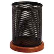 Rolodex Distinctions Metal and Wood Pencil Cup, 3.5 dia. x 4.5, Black-Cherry( AZERTY14826)