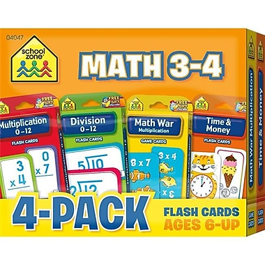 School Zone Publishing Math 3-4 Flash Cards, Pack of 4( EDRE53628)