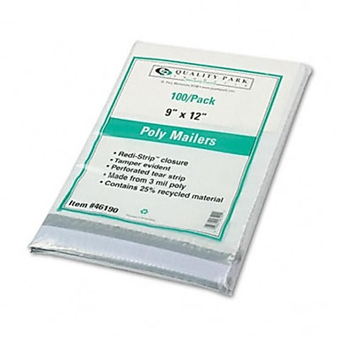 Quality Park Redi-Strip Recycled Poly Mailer Side Seam 9 x 12 White 100 Pack (AZRQUA46190)