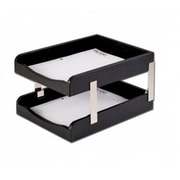Dacasso Crocodile Embossed Leather Double Letter Trays - Black( DCSS408)