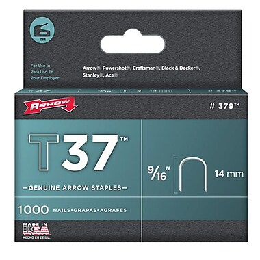 Arrow Fastener Co. 9-16 in. T37 Staples 1,000 Count (JNSN70339)