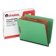 Universal Pressboard End Tab Folders Letter Size, 6-Section Green 10/box (AZRUNV10317)