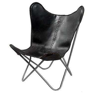 Horizon Interseas Leather Butterfly Chair Black( HRZNI102)