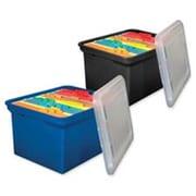 Innovative Storage Design File Tote- 14-.13in.x18in.x10-13-6in.- Blue w- Clear Lid (SPRCH16404)