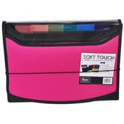 Filexec Soft Touch Padded Canvas Window Expanding File, 13 Pockets, Hot Pink (FLXC008)