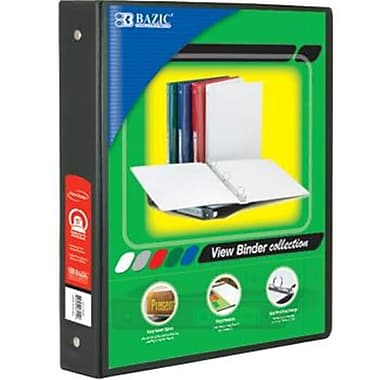 DDI BAZIC 1.5 in. Black PVC 3-Ring View Binder with 2-Pocket Case Of 12 (DLRDY256666)