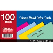 Bazic 517- 36 100 Ct. 3 in. x 5 in. Ruled Colored Index Card- Pack of 36 (BAZC755)