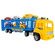 BlueBlockFactory Big Rig Truck Carrier and Race Car Set Yellow 4 to 10 years old