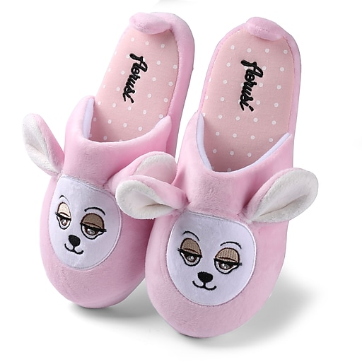 Aerusi Women Home Spa Plush Slipper Teddy Pink Bear Size 11 - 12