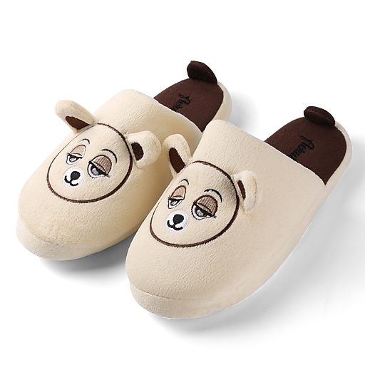 Aerusi Women Home Spa Plush Slipper Beige Teddy Bear Size 9 - 10