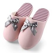 Aerusi Woman Waffle Stripes and Bow Slide Slipper Pink Size 7 - 8