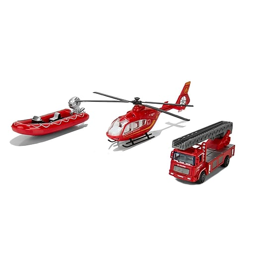 Blue Block Factory Fire Rescue Squad Stellar DieCast Play Set Red