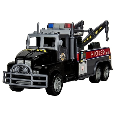 Blue Block Factory Friction Power Police Rescue Tow Truck Black