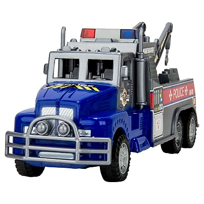 Blue Block Factory Friction Power Police Rescue Tow Truck Blue