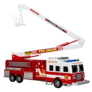 Blue Block Factory Jumbo Red Fire Rescue Engine Truck with Rescue Ladder Red