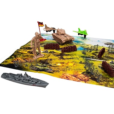 Blue Block Factory Combat Jungle Battle Army with Map Play Set