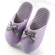Aerusi Woman Waffle Stripes and Bow Slipper Purple Size 9 - 10