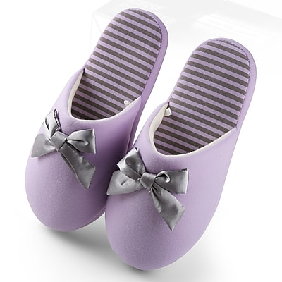Aerusi Woman Waffle Stripes and Bow Slide Slipper Purple Size 5 - 6