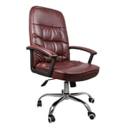 SumacLife 075 Tall High Back Executive Chair Leather Coffee Brown