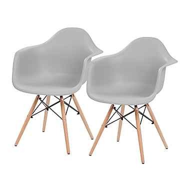 IRIS® Plastic Shell Chair With Arm Rest, 2 Pack, Gray (586720)
