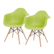 IRIS® USA, Inc. Plastic Shell Chair With Arm Rest, 2 Pack, Green (586718)