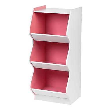 IRIS® 3 Tier Scalloped Storage Shelf, White and Pink (596040)
