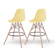 IRIS® Plastic Shell Bar Stool, 2 Pack, Yellow (586751)