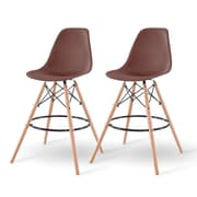 IRIS® Plastic Shell Bar Stool, 2 Pack, Brown (586756)