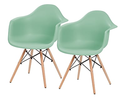 IRIS® Plastic Shell Chair With Arm Rest, 2 Pack, Light Green (586725)