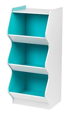 IRIS® 3 Tier Scalloped Storage Shelf, White and Blue (596041)