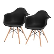 IRIS® USA, Inc. Plastic Shell Chair With Arm Rest, 2 Pack, Black (586716)