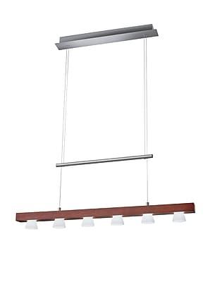 Adesso Burlington 6-Light LED Pendant, Walnut/Brushed Steel (3098-15)