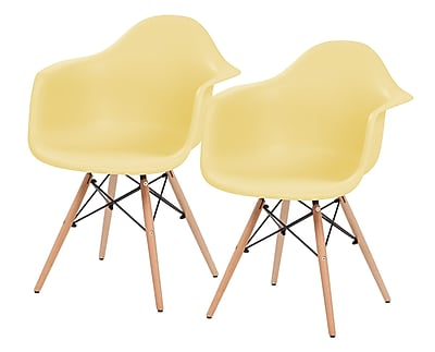 IRIS® Plastic Shell Chair With Arm Rest, 2 Pack, Yellow (586724)