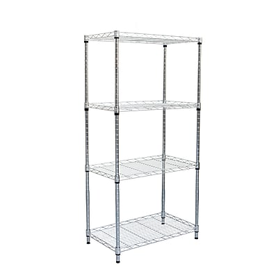 "Mind Reader 4-Shelf Metal Unit, 24""W, Chrome (METRORACK4T-SIL)"