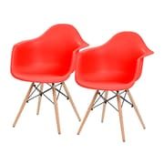 IRIS® Plastic Shell Chair With Arm Rest, 2 Pack, Red (586717)