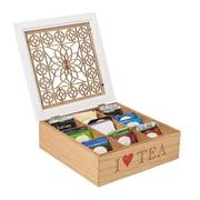Mind Reader Tea Box Storage Holder with Wood Floral Pattern, Brown (TEABOX-BRN)