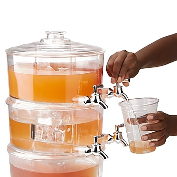 Mind Reader 3 Tier Beverage Dispenser, Clear Acrylic 6 Compartment Beverage Display with Spigots, Clear (BEVD6C-CLR)