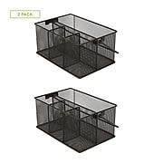 Mind Reader 2 Pack Storage Basket Organizer, Utensil Holder, Perfect for Desk Supplies, Pens, Staples, Black (2MESHBASK)