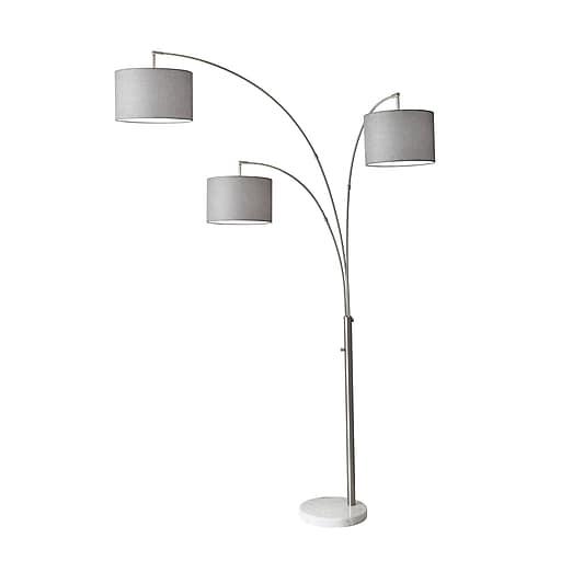 """Adesso Incandescent 83"""" Floor Lamp, Brushed Steel (4250-22)"""
