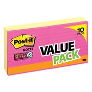 """Post-it® Super Sticky Notes, 4"""" x 4"""", Canary Yellow, Lined, 10 Pads (675-8+2YWB)"""