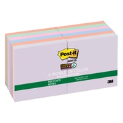 "Post-it® Recycled Super Sticky Notes, 3"" x 3"", Bali Collection, 90 Sheets/Pad, 12 Pads/Pack (654-12SSNRP)"