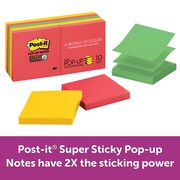 """Post-it® Super Sticky Pop-up Notes, 3"""" x 3"""", Rio de Janeiro Collection, 90 Sheets/Pad, 10 Pads/Pack (R330-10SSAN)"""