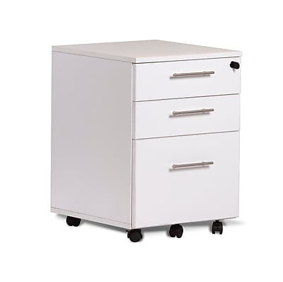 Unique Furniture 100 Collection 3 Drawer Mobile File Pedestal White (119203-WH)
